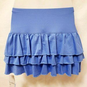 LUCKY IN LOVE  Tiered ruffle tennis Skirt blue XS